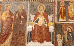 Fresque médiéval de Bergame - de Giottesque de Madonna. du cent 14. en Di Santa Maria Maggiore de basilique Photo libre de droits