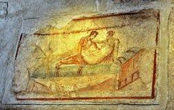 Fresque mural antique à Pompeii, Italie photos libres de droits