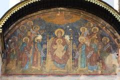 Fresque sur la cathédrale d'hypothèse à Moscou Kremlin, Russie photographie stock