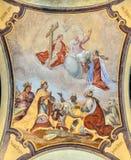 Fresque sur le plafond de Prague Loreto - monument historique baroque remarquable, Prague, République Tchèque image stock