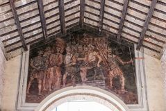 Fresque sur le toit de la vieille poissonnerie de Rimini image libre de droits