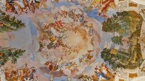 Fresques à l'église baroque Photographie stock