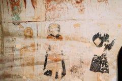 Fresques antiques dans des murs des cavernes de David Gareja Monastery Complex photos stock