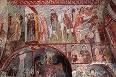 Fresques dans l'église antique de caverne en Turquie Photographie stock