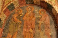 Fresques dans l'église de Nicholas Santa Clause de saint dans Demre, Turquie Il ` s une église bizantine antique photographie stock libre de droits