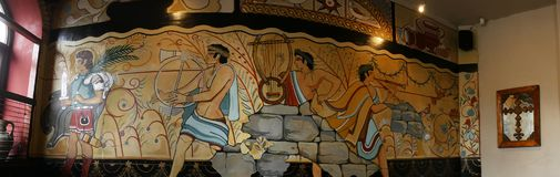 Fresques dans un restaurant italien dans Lancashire est Angleterre Photos libres de droits