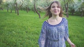 Frestande körningar för ung kvinna i en äpplefruktträdgård blommar på våren vit Stående av en härlig flicka i aftonen lager videofilmer