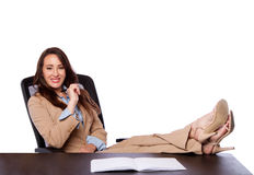 Företags affärskvinna på skrivbordet Royaltyfria Bilder