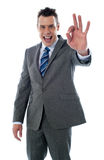 företags utmärkt göra en gest stilig man Royaltyfri Bild