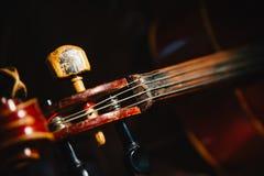 Fretboard и настраивая колышек старой затрапезной виолончели на черноте Стоковое фото RF