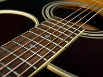 Fretboard da guitarra acústica Fotografia de Stock Royalty Free