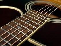 Fretboard della chitarra acustica Fotografia Stock Libera da Diritti