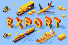 Frete da estrada de ferro do conceito do ar da estrada da exportação ilustração do vetor