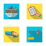 Frete de mar, assinatura de originais da entrega, caminhão, guindaste de torre com um recipiente Logística e coleção ajustada da  ilustração stock