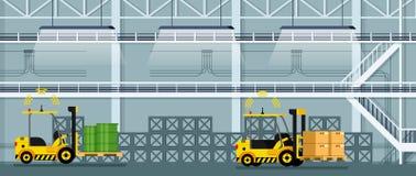 Frete e bens automáticos da condução de carro da empilhadeira ilustração royalty free