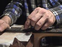 Frettes d'installation sur le col de la guitare images stock