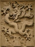 Fretwork in the form of a dragon on the wall in the Forbidden City. Beijing, royalty free stock photography