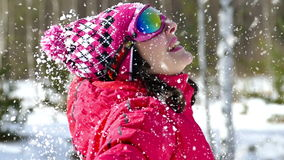 Freude und Spaß im Schnee stock video