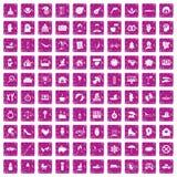 100 Freudenikonen stellten Schmutzrosa ein Lizenzfreie Stockbilder