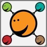 Freudiges stilisiertes Gesicht in der Orange Stockfotos