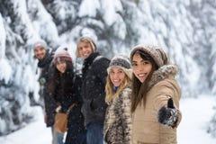 Freund-Gruppen-Schnee-Forest Happy Smiling Young People-Gehen im Freien stockfotos