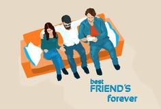 Freund-Gruppen-Sit On Sofa Take Selfie-Foto stock abbildung