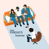 Freund-Gruppen-Sit On Sofa Take Selfie-Foto vektor abbildung