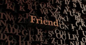 Freund - hölzernes 3D übertrug Buchstaben/Mitteilung lizenzfreie abbildung