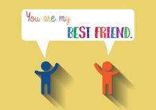 Freund-Ikone in der modischen flachen Artrede Lizenzfreie Stockbilder