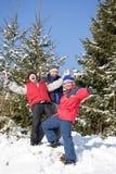 Freunde auf einem Winter Stockbilder