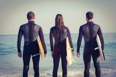 Freunde auf Wetsuits mit einem Surfbrett an einem sonnigen Tag Stockfoto