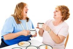 Freunde, die über Tee lachen lizenzfreies stockbild