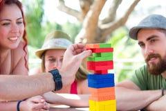Freunde, die Blockspiel spielen Stockfotos