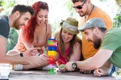 Freunde, die Blockspiel spielen Lizenzfreie Stockfotografie