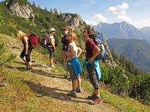 Freunde, die in den Bergen wandern Lizenzfreies Stockfoto