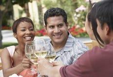 Freunde, die draußen Wein trinken Stockfotos