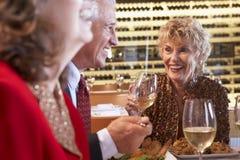 Freunde, die an einer Gaststätte zu Abend essen Lizenzfreie Stockbilder