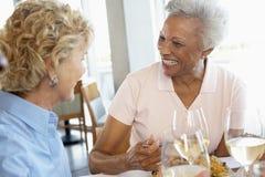 Freunde, die an einer Gaststätte zu Mittag essen Stockbild