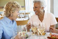 Freunde, die an einer Gaststätte zu Mittag essen Lizenzfreies Stockbild