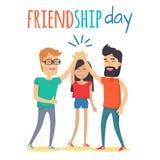 Freunde, die Freundschafts-Tagesvektor-Konzept feiern lizenzfreie abbildung