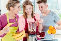 Freunde, die frische Früchte im Juicer betrachten lizenzfreies stockbild