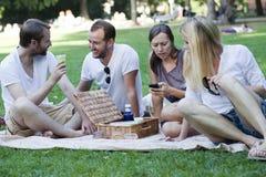 Freunde, die im Park sich entspannen Lizenzfreie Stockfotos