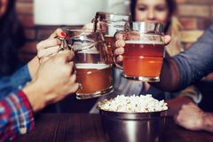 Freunde, die mit Gläsern hellem Bier an der Kneipe - Bild rösten lizenzfreie stockfotos