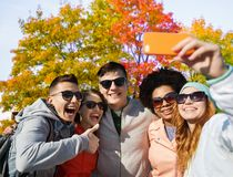 Freunde, die selfie durch Smartphone im Herbstpark nehmen stockfotos