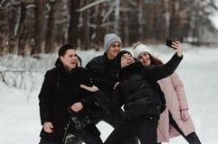Freunde, die snowly selfie im Park machen lizenzfreie stockbilder