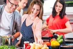 Freunde, die Teigwaren und Fleisch in der inländischen Küche kochen Stockbild