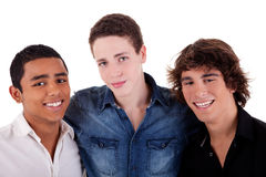 Freunde: junger Mann drei der verschiedenen Farben Lizenzfreie Stockbilder