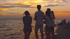 Freunde nähern sich Meer bei Sonnenuntergang stock video footage