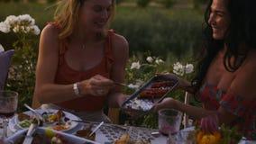 Freunde, welche die schöne Zeit am Abendessen haben stock video