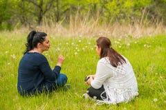 Freundfrauen in der Natur Stockfotografie